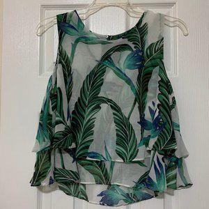 Zara, Flowy Tropical Crop Top, Medium